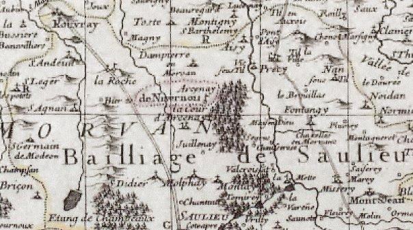 Histoire de la petite ville de Saulieu dans Côte d'Or saulieu-carte-du-pays