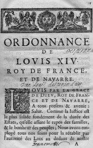 Application des textes de l'Etat Civil par Louis XV dans AUX SIECLES DERNIERS ordonnance-189x300